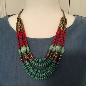 Turquoise and red short necklace with gold